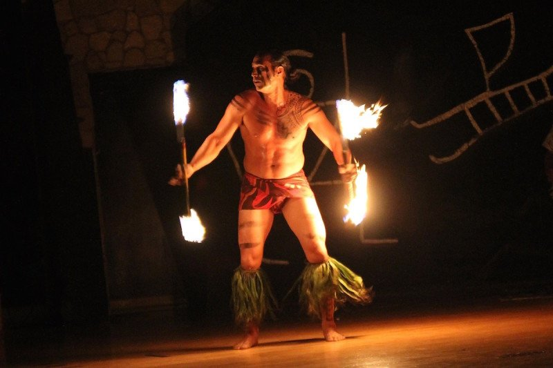 Kauai Hawaii Luau Flame Dancer.