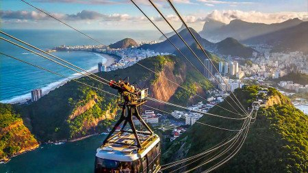 Brazil Chair lift gondola Beach City Overview Scenic