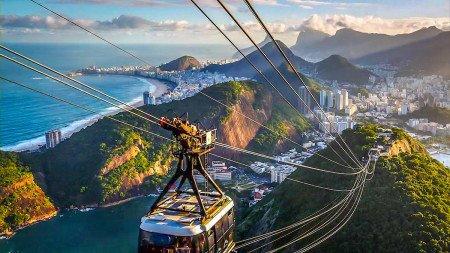 Brazil Chair lift gondola Beach City Overview Scenic