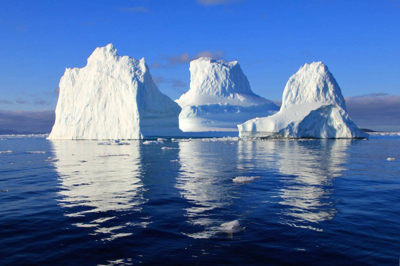 Icebergs floating in the ocean off the coast of Antarctica