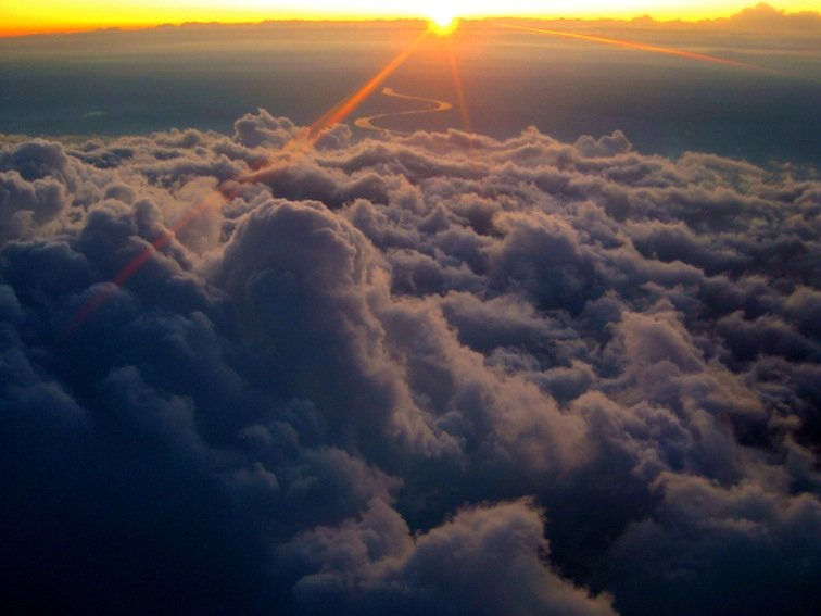 Flying in the Clouds Flight Airplane Sunrise