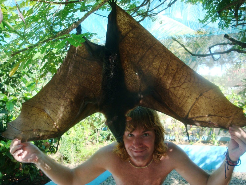 Neil Holding the Wings of a Fruit Bat.
