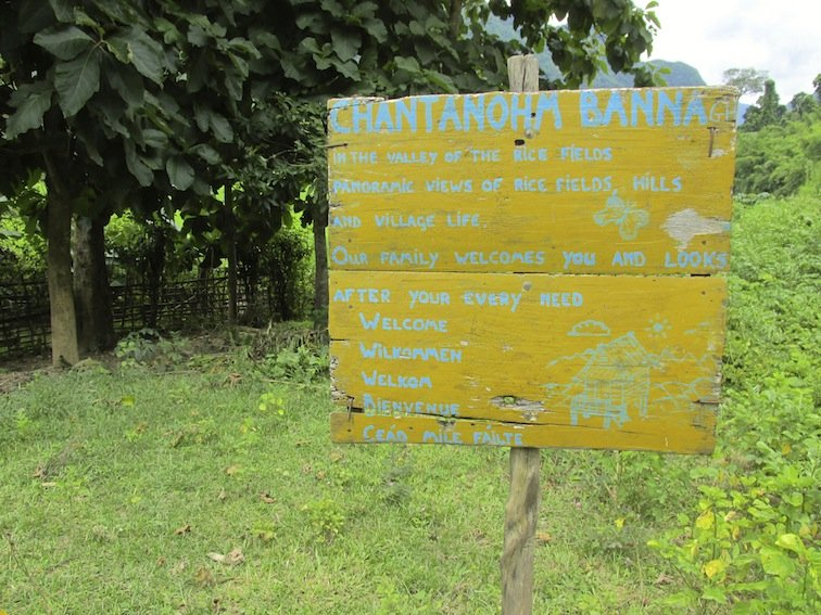 Trekking to Chantanohm Banna Village Northern Laos Sign