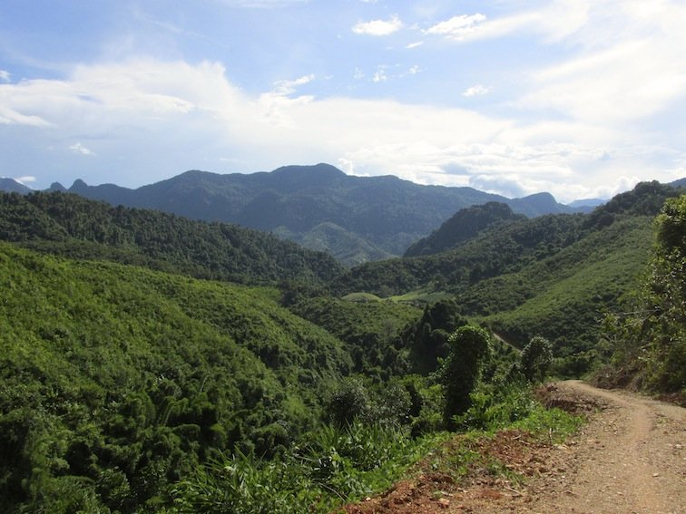 Trekking to Chantanohm Banna Village Northern Laos Mountains Rice Fields