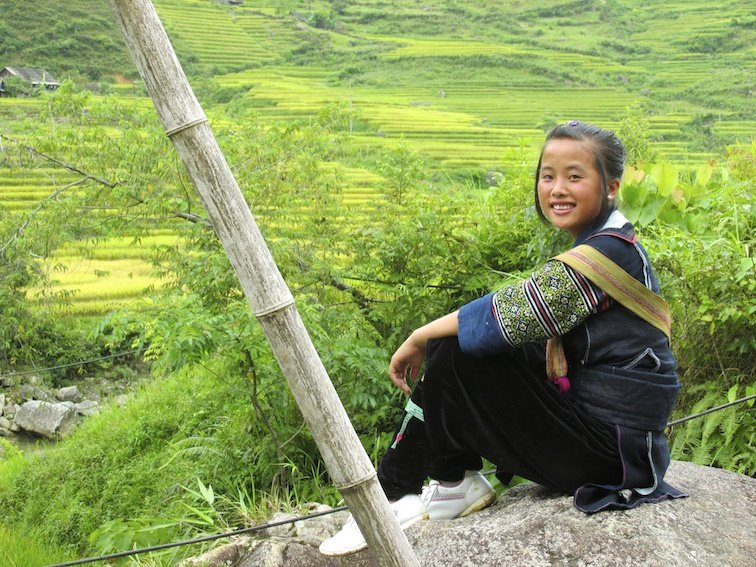 Sapa Vietnam Rice Fields Southeast Asia Rice Fields Local Village Woman Girl Smile