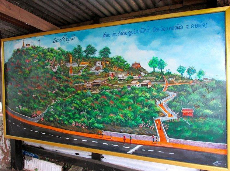 Mount Phousi Laos Luang Prabang Buddha Map