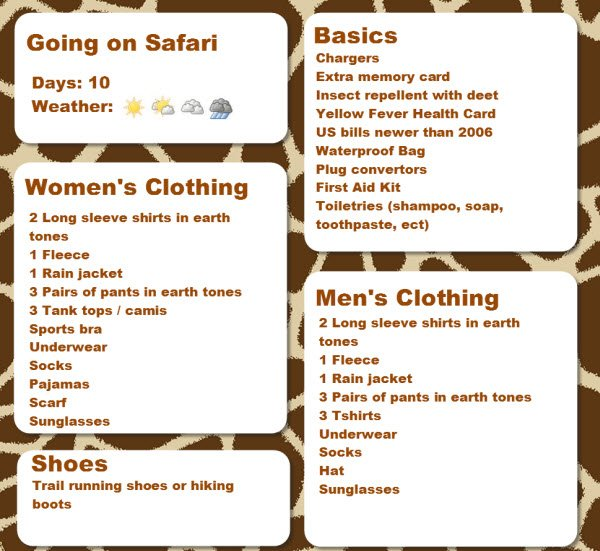 Jdombs Travels Safari Packing List