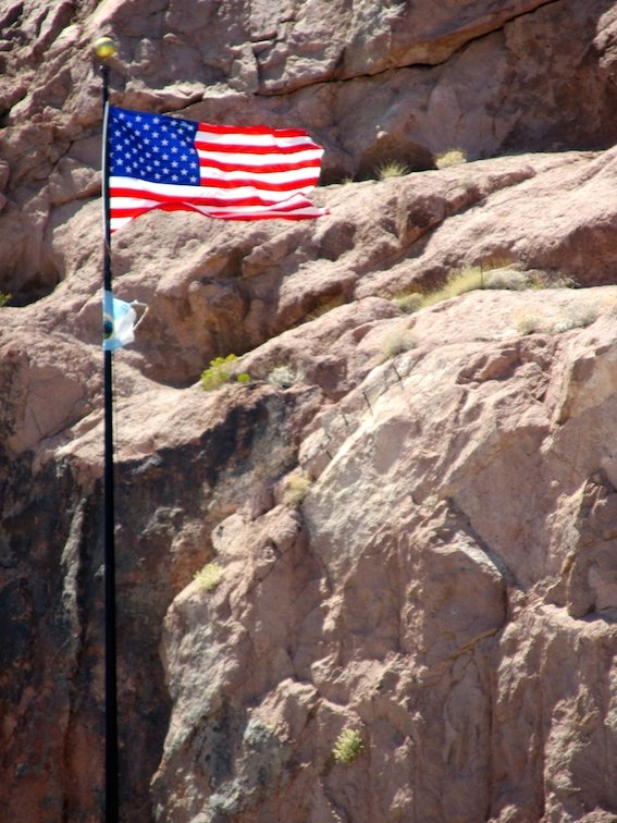 Hoover Dam Black Canyon Colorado River Nevada American Flag