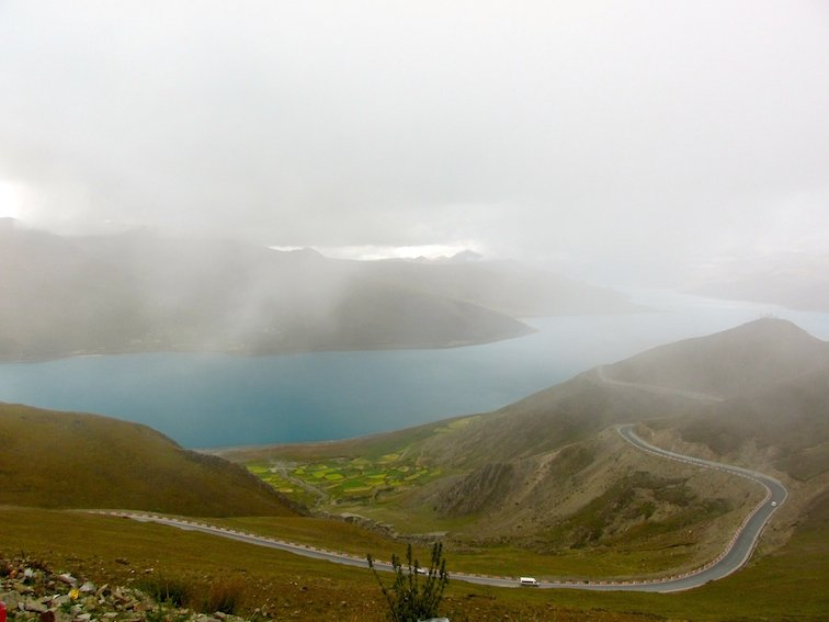Yamdrok Lake Tibet China Road Fog