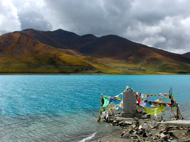Yamdrok Lake Tibet China Tibetan Prayer Flags