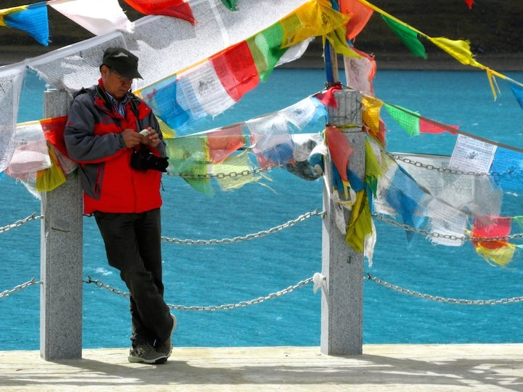 Yamdrok Lake Tibet China Photographer Man Chinese Tourist