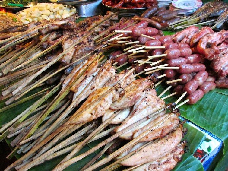 Amazing Food at the Luang Prabang Night Market in Laos Meat