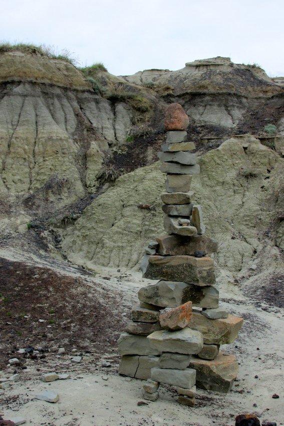Canada Badlands Canyon Rock Pile Art