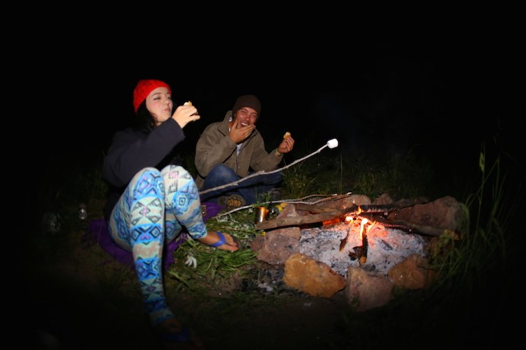 Campfire Aspen Colorado Hiking Backpacking Camping Stars Night Stargazing Eating Smores Smile Happy