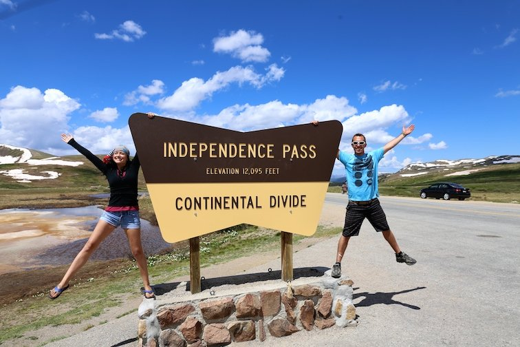 Independence Pass Sign Continental Divide Aspen Colorado USA River Creek
