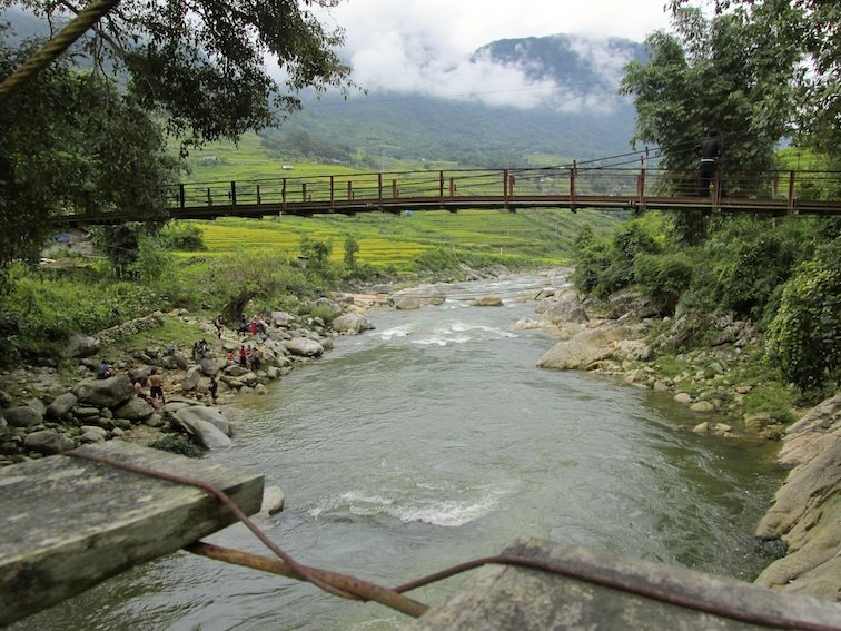 Sapa Vietnam Rice Fields Southeast Asia Guide Walk Hike Village Local River Bridge