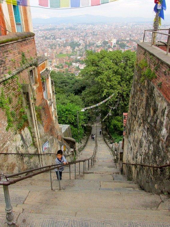Swayambhumath Monkey Temple Kathmandu Nepal Stairs