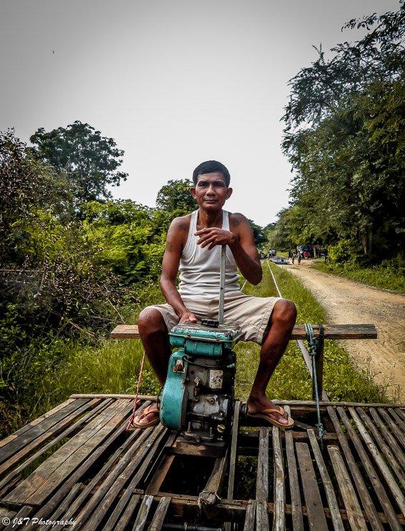 Laos train driver portrait