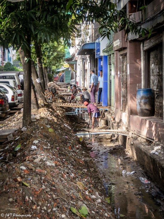 Myanmar Yangon street construction