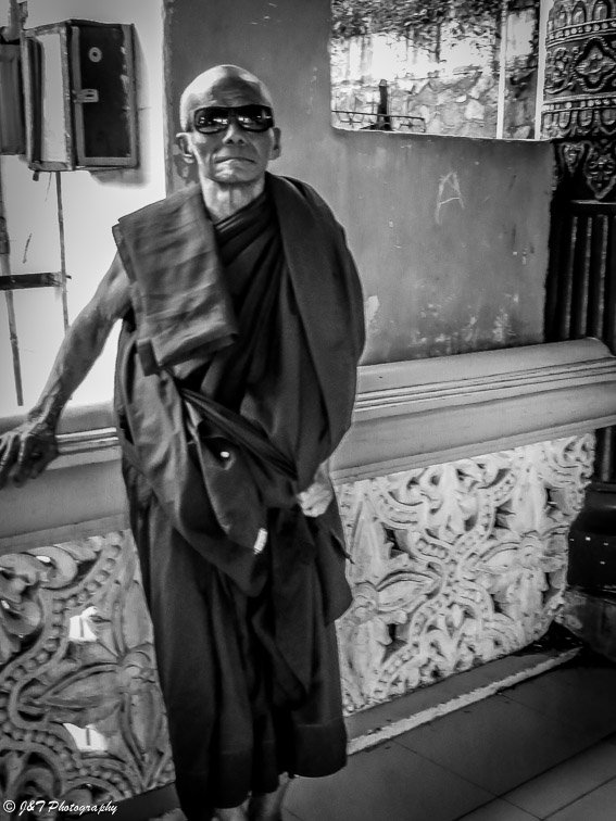 Myanmar cool monk portrait