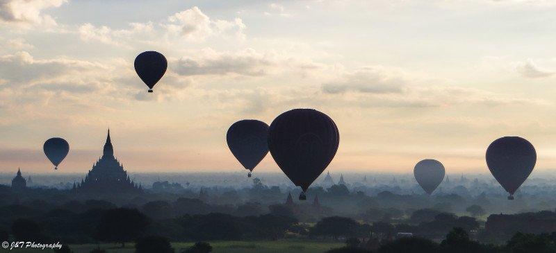 Bagan Myanmar hot air balloon view