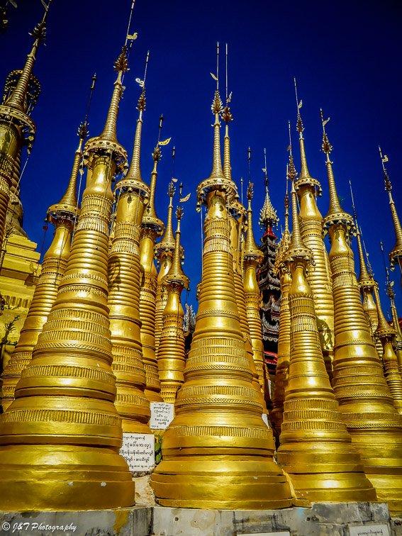 Myanmar indein village gold pagodas temple