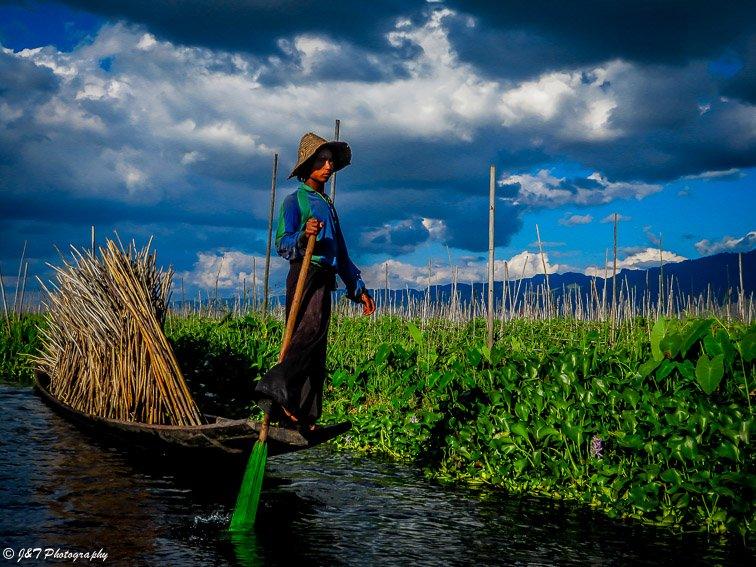 Myanmar one legged fisherman farmer portrait