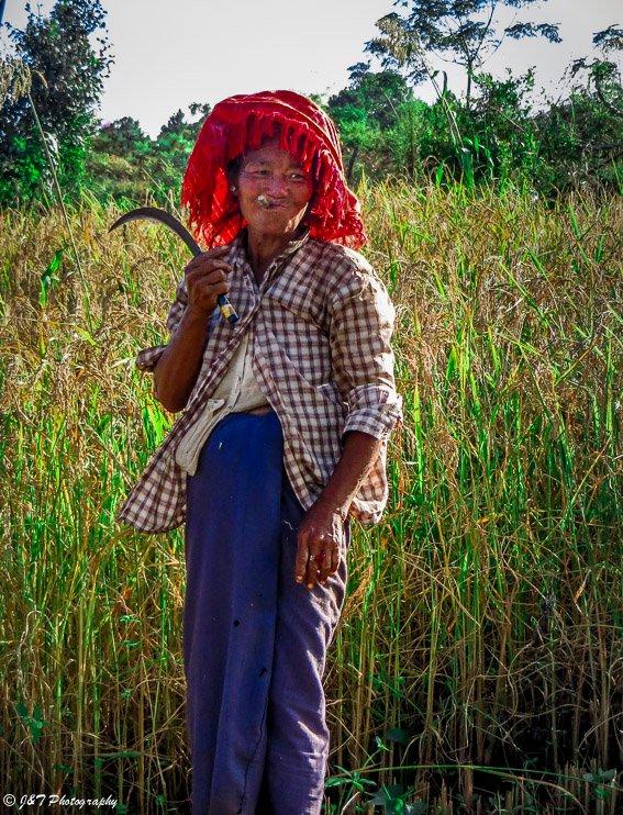 Myanmar farm woman inle lake kalaw hiike
