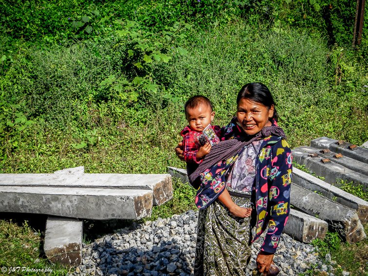 Myanmar woman and child portrait