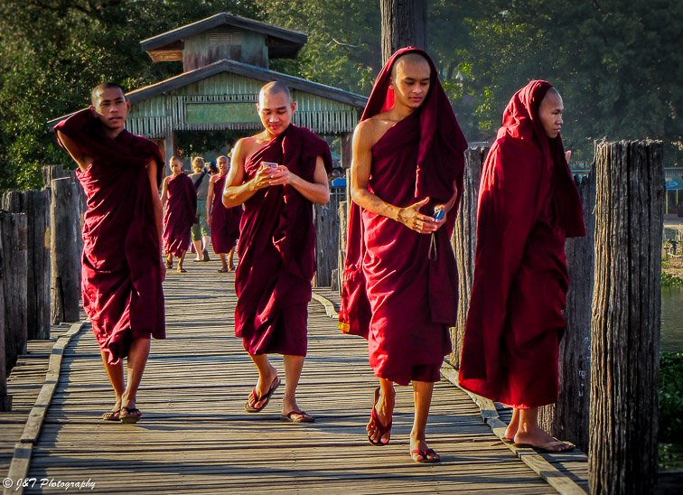 Myanmar Amarapura monks on cellphones