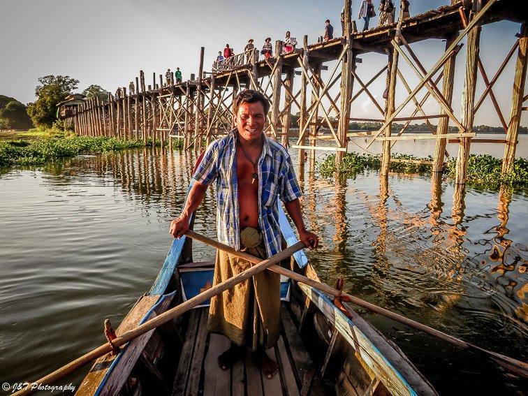 Myanmar boat paddler portrait
