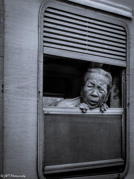 Myanmar train woman portrait