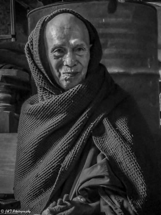 Myanmar old monk portrait.