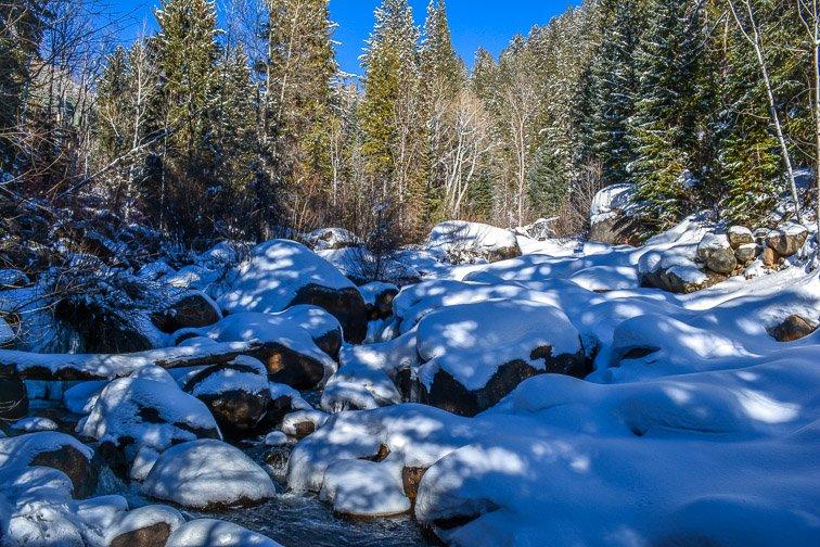 Colorado Aspen Showshoeing Snow Trees Backcountry Hiking Waterfall Rocks