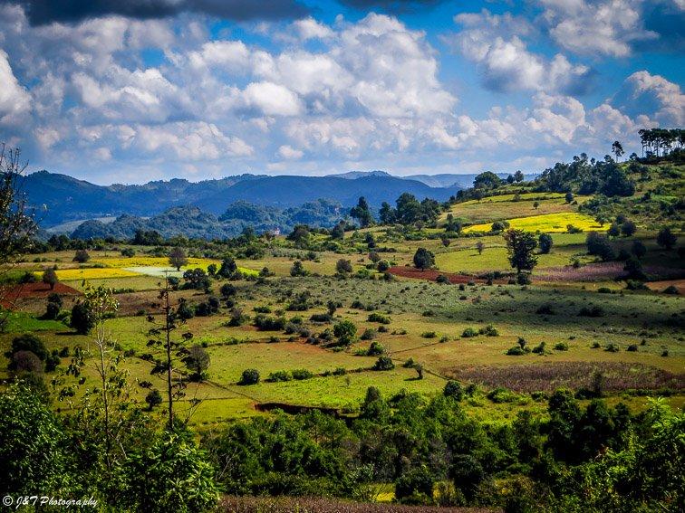 Myanmar field landscape vie Myanmar village inle lake to kalaw hike