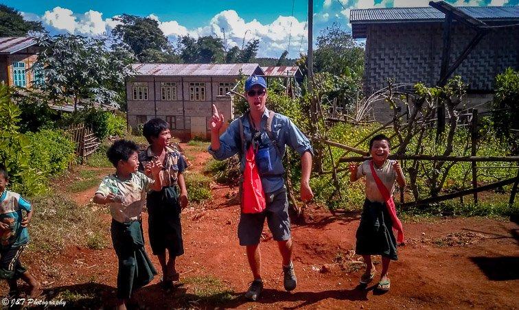 Myanmar Inle lake to Kalaw hike kids dancing