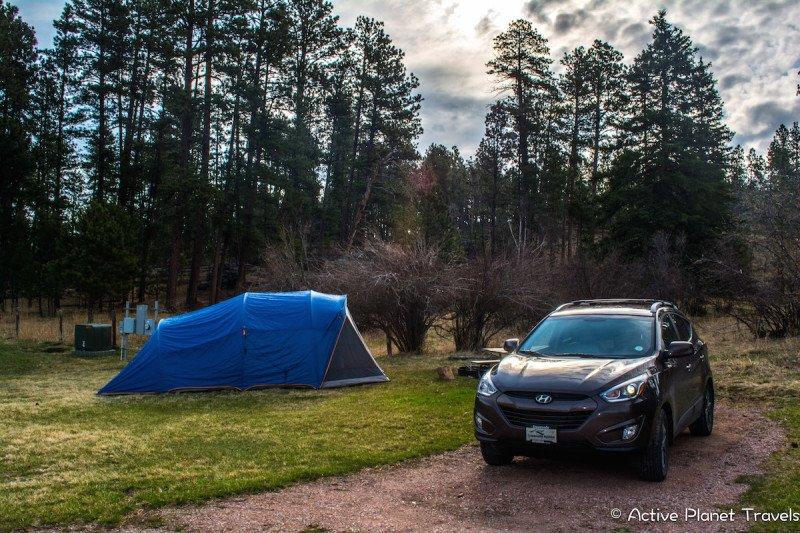 Mount Rushmore South Dakota Black Hills National Park Camping Car Tent