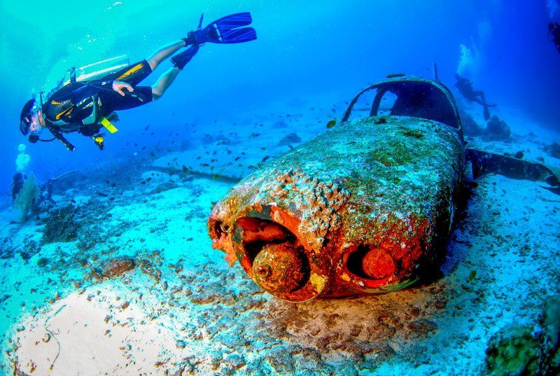Wreck Plane Diving Ocean Sea Coral Reef Floor Sand Diver Dive