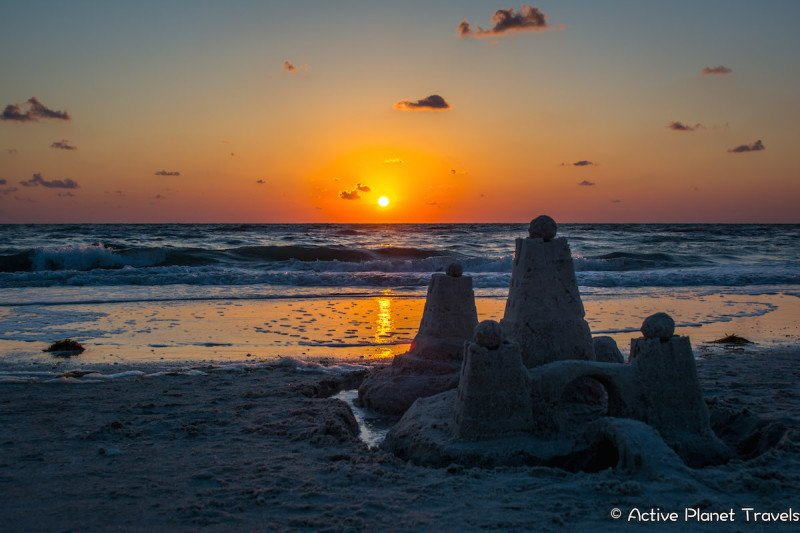 Clearwater Beach Florida Ocean Sea Sandcastle Sunset