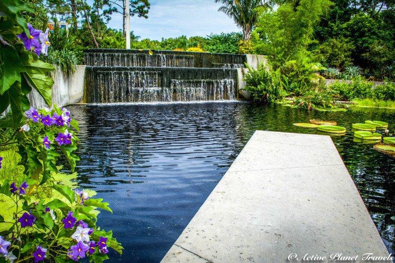 Naples Paradise Coast Florida Botanical Garden Flowers Waterfall Garden Feature