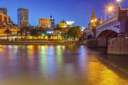 Australia Melbourne City Scape Night River Bridge