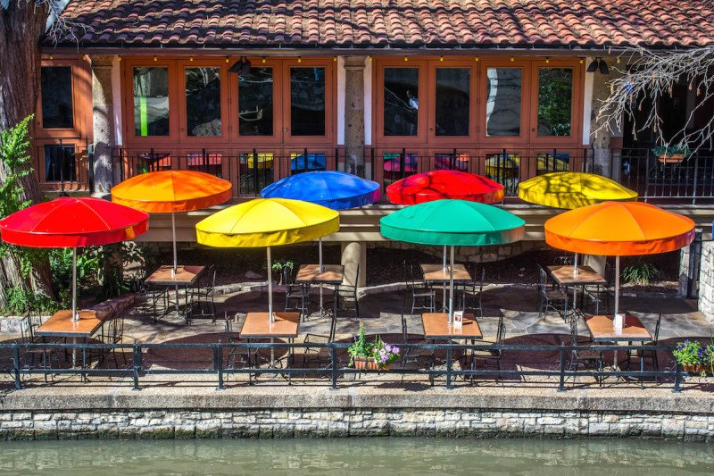 san antonio texas riverwalk river mall walking umbrella