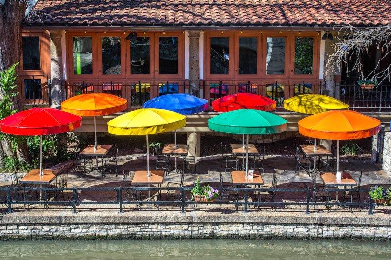 san antonio texas riverwalk river mall walking umbrella